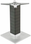 Aluminum Wicker 29''H Outdoor Table Base with 6'' Pole and 18''X18'' Square Weighted Bottom - Silver [AAL-2500-18X18X6-WIC-SILVER-FLS]