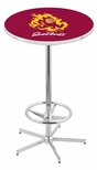 Arizona State University 42''H Chrome Finish Bar Height Pub Table with Foot Ring [L216C42ARIZST-FS-HOB]