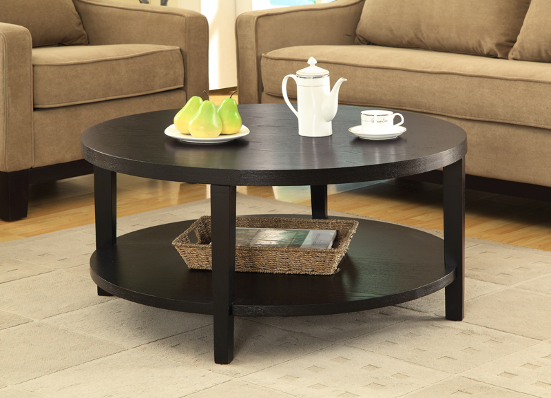 ave six merge 36'' round coffee table with solid wood legs - black