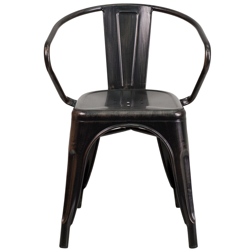 black antique gold metal indoor outdoor chair with arms