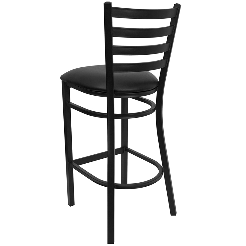 Black Ladder Back Metal Restaurant Barstool with Black Vinyl Seat by T u0026 D Restaurant Equipment  sc 1 st  RestaurantFurniture4Less.com : metal stool with back - islam-shia.org