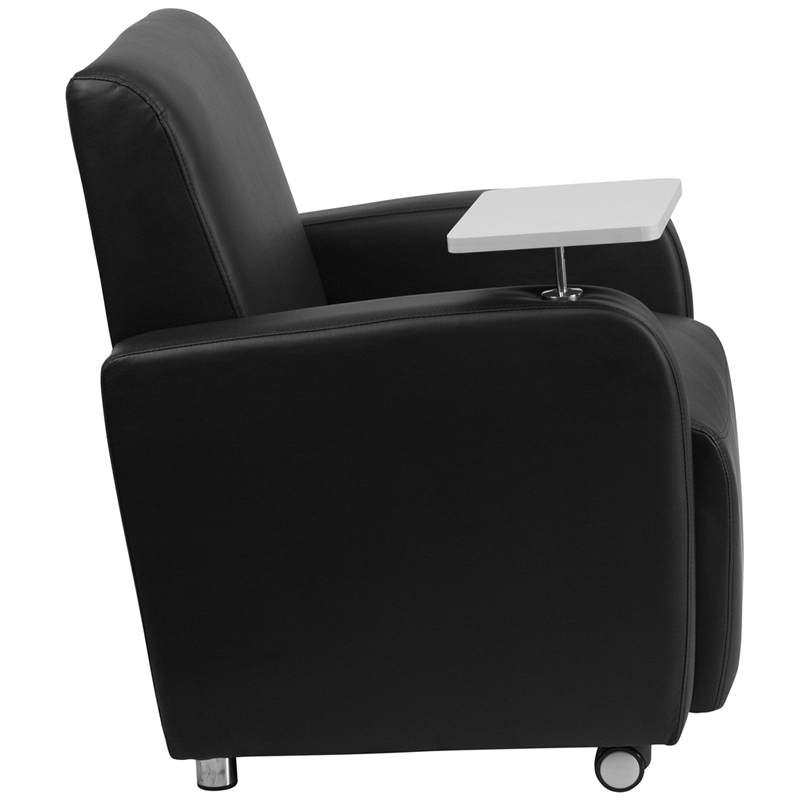Black Leather Guest Chair With Tablet Arm,Front Wheel Casters And Cup  Holder By Flash Furniture