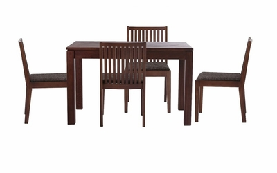 Block walnut color wood dining table and chairs with dark for 108 table seats how many