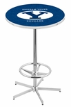 Brigham Young University 42''H Chrome Finish Bar Height Pub Table with Foot Ring [L216C42BRIGYN-FS-HOB]