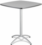 CafeWorks 42'' Square Powder Coated Steel Frame Melamine Bistro Table - Gray [65677-ICE]