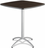 CafeWorks 42'' Square Powder Coated Steel Frame Melamine Bistro Table - Walnut [65674-ICE]