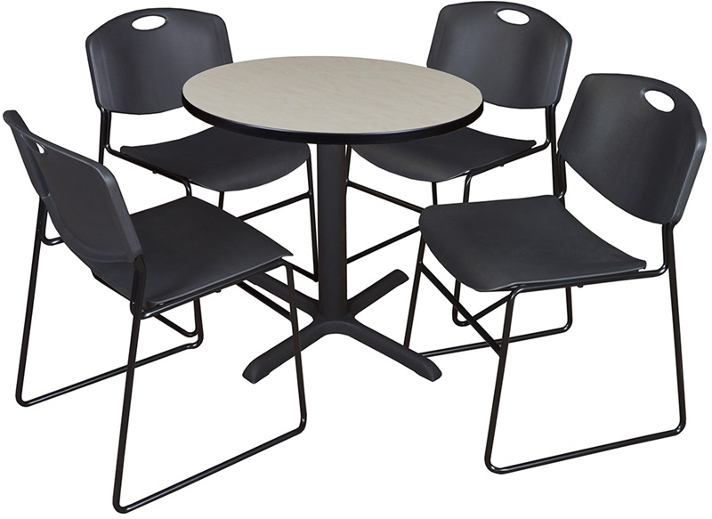 cain 30 39 39 round laminate breakroom table with 4 zeng stack chairs maple table finish and black. Black Bedroom Furniture Sets. Home Design Ideas