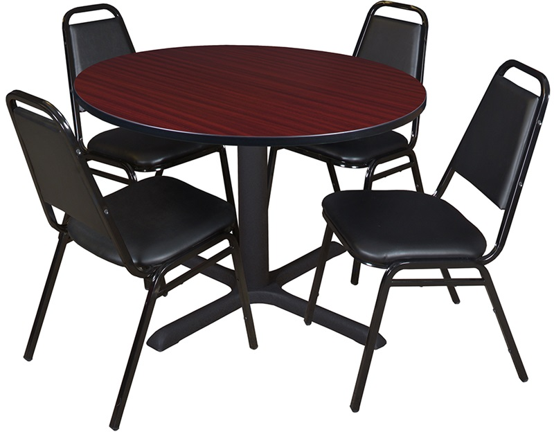 cain 48 39 39 round laminate breakroom table with 4 restaurant stack chairs mahogany table finish. Black Bedroom Furniture Sets. Home Design Ideas