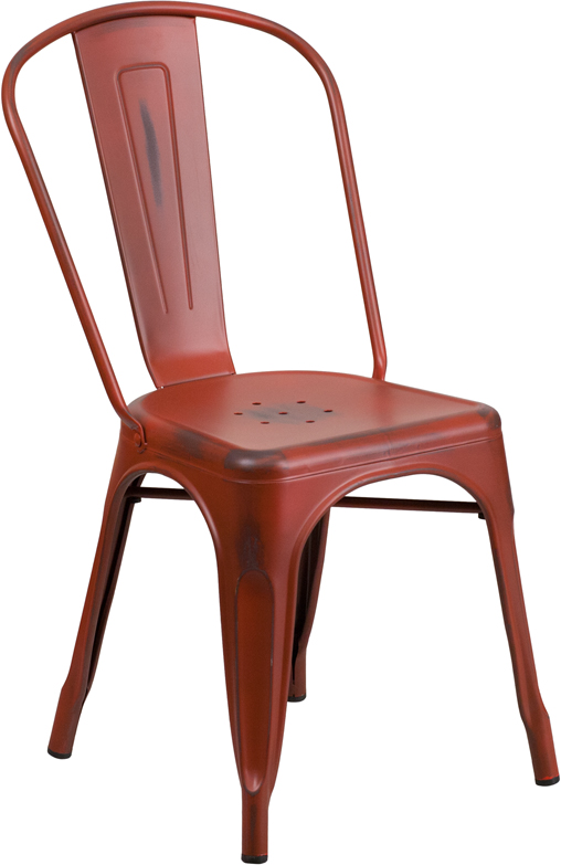 Distressed Kelly Red Metal IndoorOutdoor Stackable Chair ET - Distressed chairs