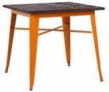 Dreux 30''H Glossy Orange Steel Bar Table with Elm Wood Top [LS-9120-ORAW-DLM]