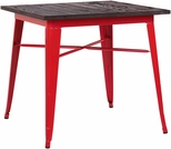 Dreux 30''H Glossy Red Steel Bar Table with Elm Wood Top [LS-9120-REDW-DLM]
