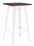 Dreux 42''H Glossy White Steel Bar Table with Elm Wood Top [LS-9110-WHTW-DLM]