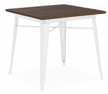 Dreux 30''H Glossy White Steel Bar Table with Elm Wood Top [LS-9120-WHTW-DLM]