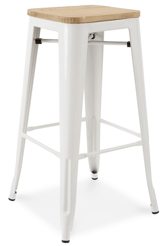Dreux Glossy White Stackable Steel Barstool With Elm Wood