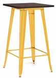 Dreux 42'' Glossy Yellow Steel Bar Table with Elm Wood Top [LS-9110-YLWW-DLM]