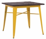 Dreux 30'' Glossy Yellow Steel Bar Table with Elm Wood Top [LS-9120-YLWW-DLM]