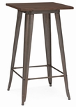 Dreux 42''H Rustic Matte Steel Bar Table with Elm Wood Top [LS-9110-RMTW-DLM]
