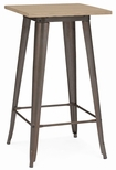 Dreux 42''H Rustic Matte Steel Frame Bar Table with Light Elm Wood Top [LS-9110-RMTLW-DLM]