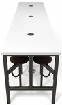 Endure 141''W Steel Frame Table with 12 Swivel Seats - Dry Erase White Table Top and Walnut Seats [9012-WLT-WHT-MFO]