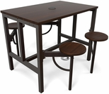 Endure 48''W Steel Frame Table with 4 Swivel Seats - Walnut Table Top and Walnut Seats [9004-WLT-WLT-MFO]
