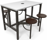 Endure 48''W Steel Frame Table with 4 Swivel Seats - Dry Erase White Table Top and Walnut Seats [9004-WLT-WHT-MFO]