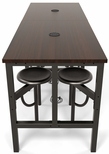 Endure 96''W Steel Frame Table with 8 Swivel Seats - Walnut Table Top and Dark Vein Seats [9008-DVN-WLT-MFO]