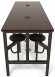 Endure 96''W Steel Frame Table with 8 Swivel Seats - Walnut Table Top and Walnut Seats [9008-WLT-WLT-MFO]