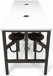 Endure 96''W Steel Frame Table with 8 Swivel Seats - Dry Erase White Table Top and Walnut Seats [9008-WLT-WHT-MFO]