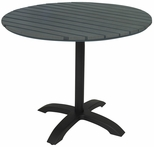Eveleen Aluminum Outdoor Pedestal Base with 32'' Round Polymer Table Top - Dark Grey [TSY32R1900GY-IFK]