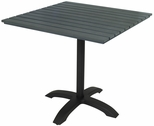Eveleen Aluminum Outdoor Pedestal Base with 32'' Square Polymer Table Top - Dark Grey [TSY32S1900GY-IFK]