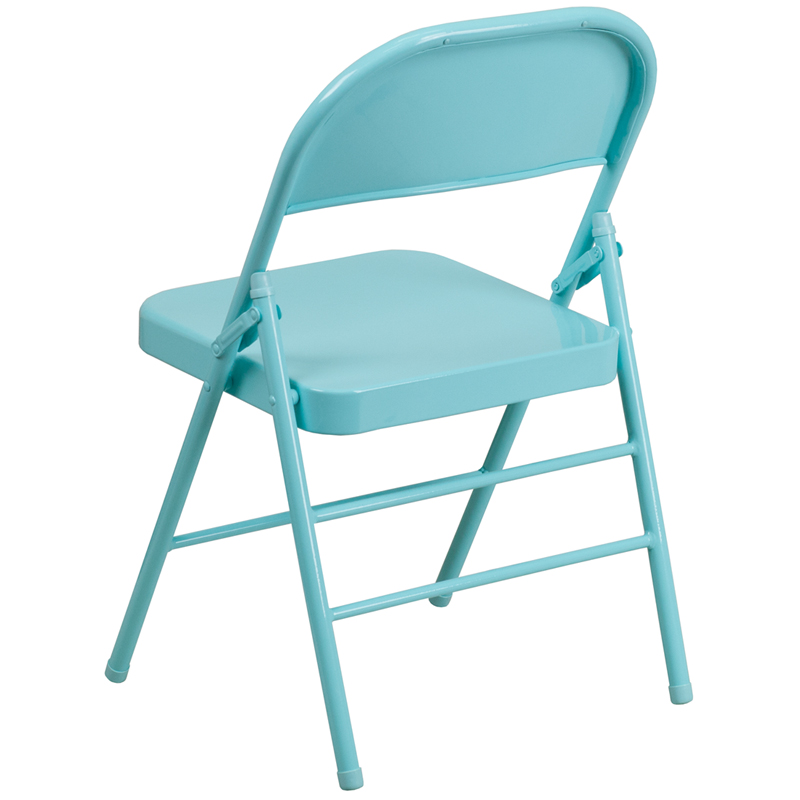 series titillating teal triple braced double hinged metal folding chair chairs wholesale covers for sale used florida