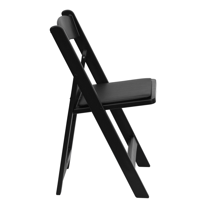 capacity black resin folding chair with black vinyl padded seat by flash furniture - Padded Folding Chairs