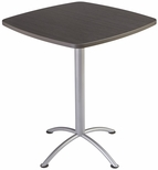 iLand 36'' Square Steel Frame 42''H Conference Table with Edgeband - Gray Walnut with Silver Legs [69754-ICE]