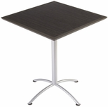 iLand 36'' Square Steel Frame 42''H Conference Table with Urethane Edge - Gray Walnut with Silver Legs [69854-ICE]