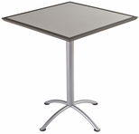 iLand 36'' Square Steel Frame 42''H Conference Table with Urethane Edge - Gray with Silver Legs [69855-ICE]