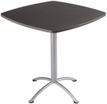 iLand 42'' Square Steel Frame 42''H Conference Table with Edgeband - Natural Teak with Silver Legs [69767-ICE]