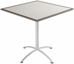 iLand 42'' Square Steel Frame 42''H Conference Table with Urethane Edge - Gray with Silver Legs [69865-ICE]