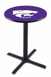 Kansas State University 36''H Black Wrinkle Finish Counter Height Pub Table with X-Base [L211B36KNSASS-FS-HOB]
