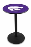 Kansas State University 36''H Black Wrinkle Finish Counter Height Pub Table with Round Base [L214B36KNSASS-FS-HOB]