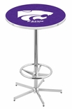 Kansas State University 42''H Chrome Finish Bar Height Pub Table with Foot Ring [L216C42KNSASS-FS-HOB]