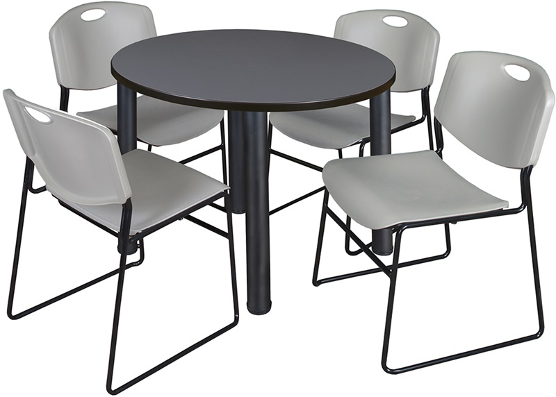 Kee 42 Round Laminate Breakroom Table With 4 Zeng Stack