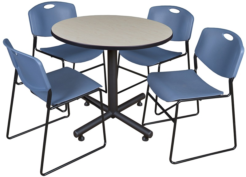 kobe 36 39 39 round laminate breakroom table with 4 zeng stack chairs maple table finish and blue. Black Bedroom Furniture Sets. Home Design Ideas