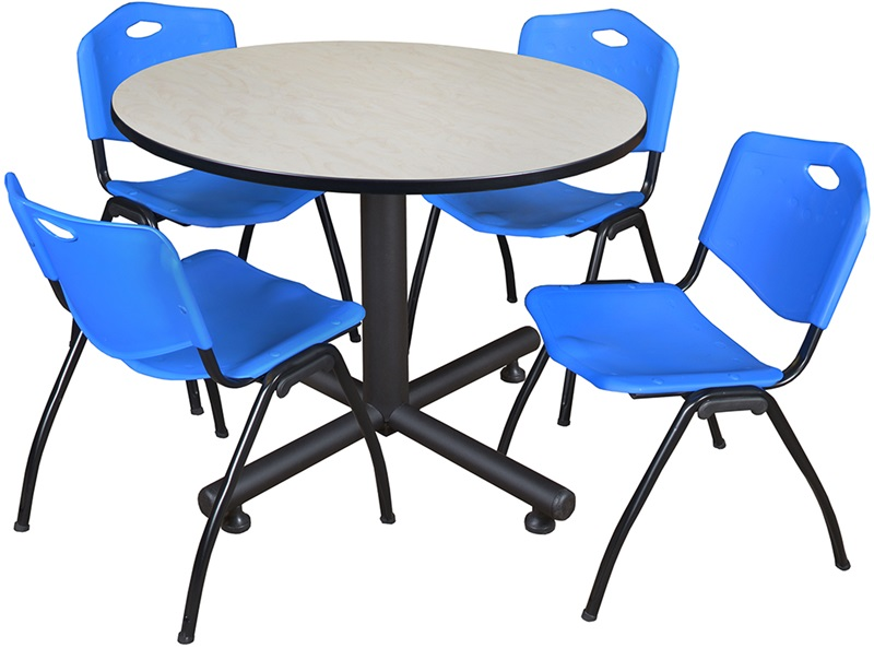 kobe 48 39 39 round laminate breakroom table with 4 39 39 m 39 39 stack chairs maple table finish and blue. Black Bedroom Furniture Sets. Home Design Ideas