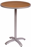 Longport Bali Bar Height Table 32'' Round Synthetic Teak Top & 4-Leg Base [PH32RTKSV-PHTB2626SVT-BFMS]