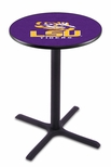 Louisiana State University 36''H Black Wrinkle Finish Counter Height Pub Table with X-Base [L211B36LASTUN-FS-HOB]