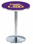 Louisiana State University 36''H Black Wrinkle Finish Counter Height Pub Table with Round Base [L214B36LASTUN-FS-HOB]