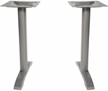 Margate End Bases in Silver Powder Coat - Set of 2 [PHTB0022SV-BFMS]