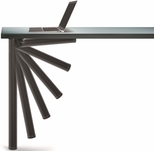 Matte Black Push-Button Set of 4 Foldable Table Legs with Mounting Hardware - 27.75''H [656-70-19-PMI]