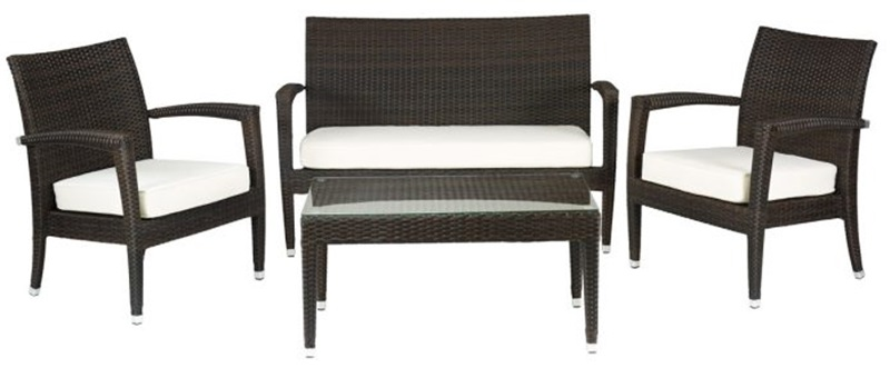 Miami Beach Collection Outdoor Wicker Love Seat With Arms
