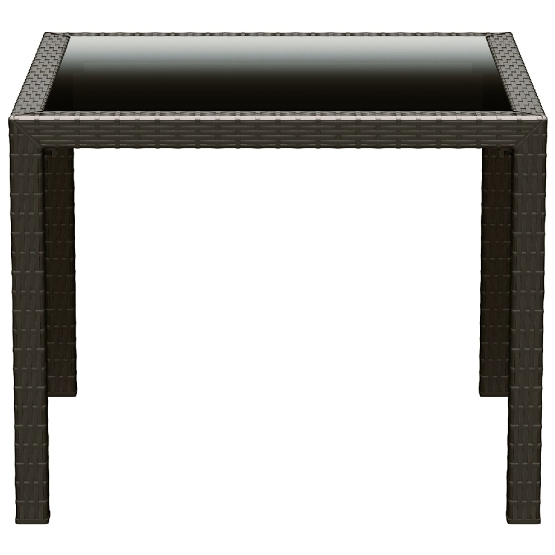 37 39 39 W Miami Resin Wickerlook Square Dining Table Brown